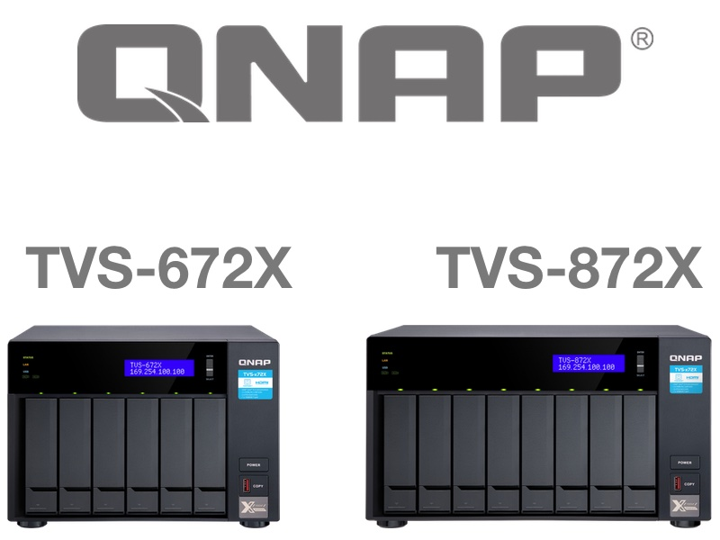 QNAP TVS 672X TVS 872X - QNAP TVS-672X et TVS-872X : Intel i3, 8 Go de RAM, 10 GbE, HDMI 2.0, PCIe...