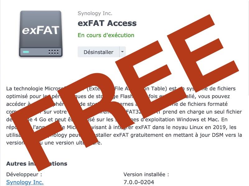 exFAT Access gratuit - Synology DSM 7.0 - exFAT est désormais gratuit pour tous