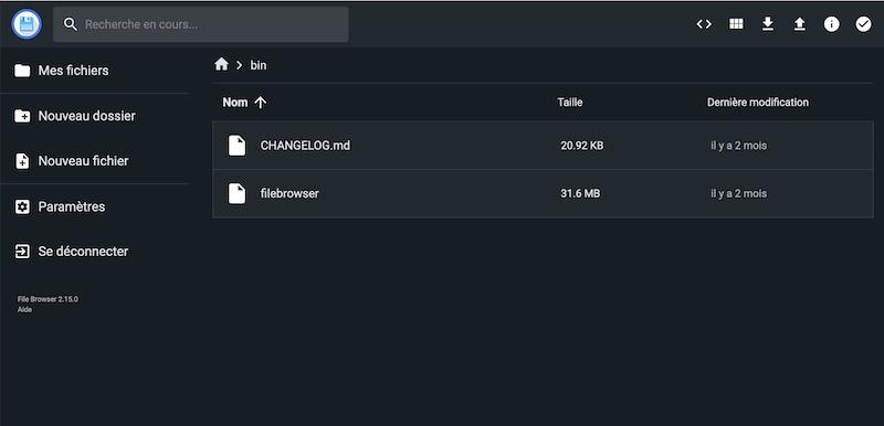 interface sombre francais - File Browser, LE gestionnaire de fichiers gratuit pour votre serveur...
